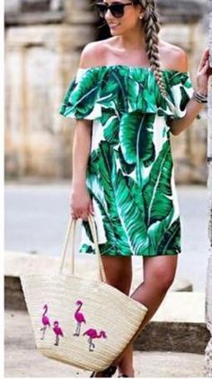 Palm Prints In Paradise!🌴 Palm Print Off The Shoulder Dress & Embroidered Beach Tote Bag Dress Outfits, Casual Dresses, Cute Outfits, Fashion Outfits, Summer Dresses, Women's Fashion, Summer Clothes, Spring Fashion, Tropical Outfit