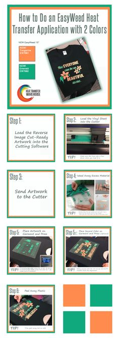 to Do a Heat Transfer Application with Two Colors of Vinyl. Showcased are EasyWeed colors Tangerine and Emerald! Silhouette Cameo 2, Silhouette School Blog, Silhouette Projects, Crafty Projects, Vinyl Projects, T Shirt Transfers, Vinyl Sheets, Vinyl Crafts, Cricut Vinyl