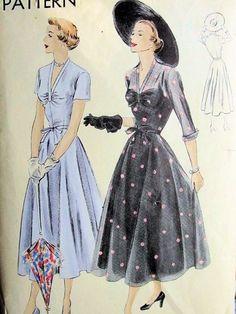 1950 LOVELY DRESS PATTERN V NECKLINE, FULL CIRCULAR SKIRT, PERFECT FOR SHEER FABRICS VOGUE 6757