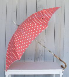 Vintage Pink Polka Dot Umbrella by thevintagetreehouse on Etsy, $89.00