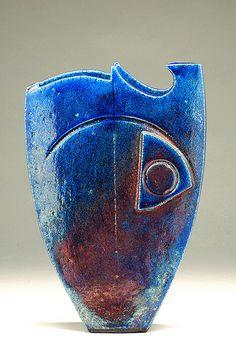 Cobalt Neptune Raku vase created by Halstead Ceramist Shaun Hall   Image by Rose Yard Raku Studios, via Flickr