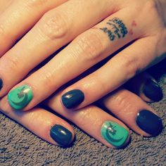 Grey green faerie moon nails