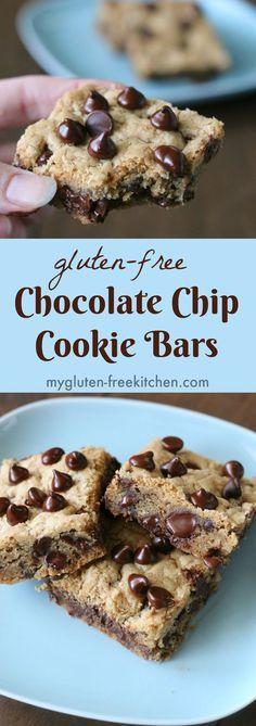 Gluten-free Chocolate Chip Cookie Bars recipe. Perfect lunchbox treat!