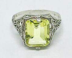 Edwardian Sterling Silver 4CT Lemon Citrine Filigree Antique Vintage Ring Engagement Wedding Size 7 by AdornedInHistory on Etsy