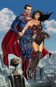 Superman & Wonder Woman by Hamlet Roman #HenryCavill #GalGadot