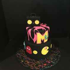 80's Themed Birthday Cake Mrs. Pac Man, Mtv and boom box