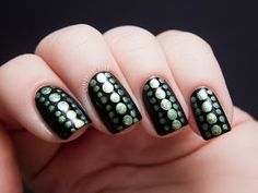 Chalkboard Nails: Reptilian Dot Nail Art