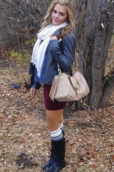 Button-up: Old Navy  Skirt: H  Scarf: Jones New York  Jacket: NEU  Boots: Target  Purse: Steve Madden (found at TJ Maxx)  Boots Socks: DIY project