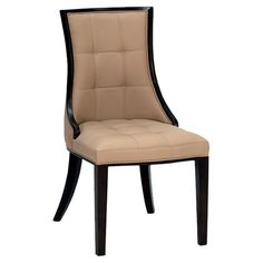 Bring a traditional touch to your dining room with this faux leather-upholstered chair. Featuring a beige finish and wooden legs, it is a timeless addition t...
