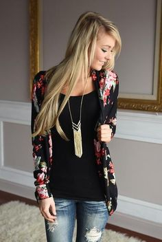 Woman's Long Sleeve Floral Cardigan