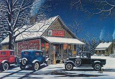 coke artwork Coca Cola Christmas, Christmas Art, Dibujos Pin Up, Coca Cola Decor, Nostalgic Art, Small Town America, Vintage Coke, Old Country Stores, Scenery Pictures
