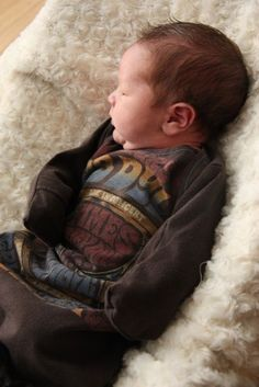 Dads old T-Shirt to baby onsie Tutorial. So cute!