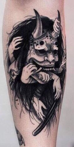 Trendy Tattoo Designs Ideas New School Oni Tattoo, Hanya Tattoo, Occult Tattoo, Mask Tattoo, Piercing Tattoo, Demon Tattoo, Piercings, Creepy Tattoos, Badass Tattoos