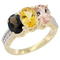 10K Yellow Gold Natural Smoky Topaz, Citrine & Morganite Ring 3-Stone Oval 7x5 mm Diamond Accent, sizes 5 - 10