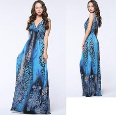 Blue Women lady Formal Summer Long Maxi Boho Beach V Leopard dress Plus Size 18W