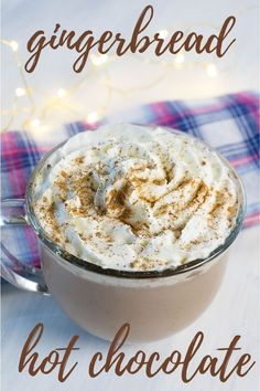 Cinnamon Gingerbread Hot Chocolate Make this delicious hot chocolate recipe for Christmas. Kids and adults will love the sweet gingerbread flavor that makes this holiday drink a cozy addition to any gingerbread house decorating party. Christmas Hot Chocolate, Frozen Hot Chocolate, Hot Chocolate Cookies, Homemade Hot Chocolate, Hot Chocolate Mix, Hot Chocolate Recipes, Chocolate Flavors, Chocolate Work, Vegan Chocolate