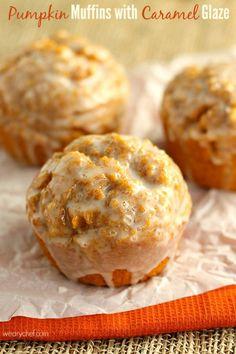 Pumpkin Muffins with Caramel Glaze