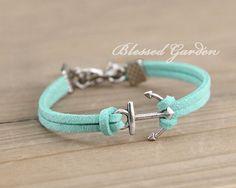 Anchor bracelet, mint green bracelet, ocean bracelet,mint bracelet, teal anchor, friendship gift,blessedgarden