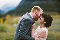 bride and groom at kananaskis delta lodge fall wedding Destination Wedding Locations, Destination Wedding Photographer, Lodge Wedding, Fall Wedding, Elopement Dress, Travel List, Kauai, Groom, Wedding Photography
