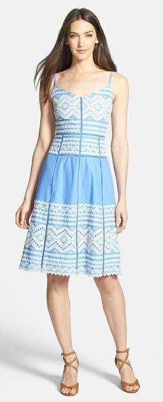 Tory Burch 'Tiara' Embroidered Cotton A-Line Dress
