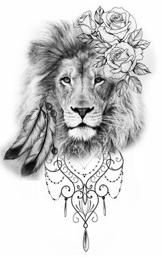 The Effective Pictures We Offer You About Mandala Tattoo colorful A quality picture can tell you man Lion And Rose Tattoo, Lion Tattoo With Crown, Leo Lion Tattoos, Lion Tattoo On Thigh, Animal Tattoos, Rose Tattoos, Body Art Tattoos, Mini Tattoos, Rose Mandala Tattoo