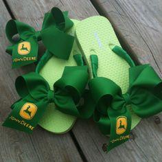 #John Deere Flip Flops and Matching Bow  Flip-Flops #2dayslook #Flip-Flops #fashion #nice  #new   www.2dayslook.com