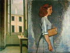 huariqueje:  The Window  -  Balthus  1940 French  1908-2001   oil on cardboard mounted on wood, 73 x 92 cm Private collection