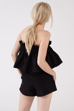 counter frill top in black floral and the follower short in black