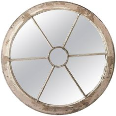 Round Window Frame Mirror with Original PaintHEIGHT:28.74 in. (73 cm) DIAMETER:28.74 in. (73 cm)