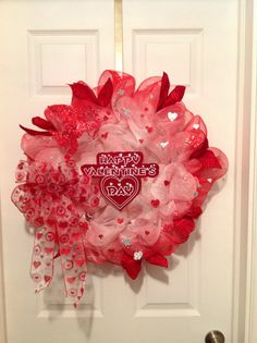Outdoor(weather treated) or indoor Handmade Valentine's Day Heart Love Red, Pink, White Deco Mesh Welcome Wreath