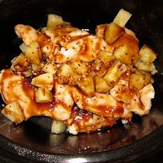 Spray the crock pot with nonstick cooking spray and add chicken breasts. Pour soy sauce, teriyaki sauce, and pineapple chunks (with half of the juice) ...