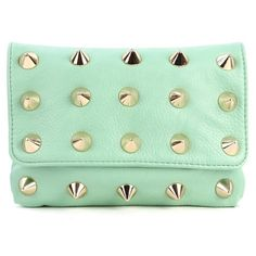 Large Spike Studded Clutch (40 CAD) ❤ liked on Polyvore featuring bags, handbags, clutches, accessories, purses, bolsas, handbags purses, green clutches, hand bags and chain strap purse