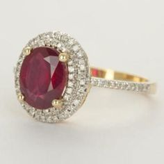 Natural Ruby Solid 14K White Gold Estate Halo Genuine Diamond Engagement Ring in Jewelry & Watches, Engagement & Wedding, Engagement Rings | eBay
