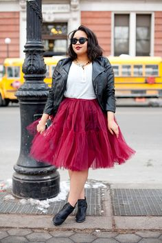 NYFW x maurices On day two of my mini trip to Fashion Week, I wore booties and a faux leather jacket from maurices paired with a tee and tutu from ASOS (man, those sell out fast--check out the new one Zelie for She here). I have a history of wearing leather with tulle--I think it makes the skirt feel a little more casual and wearable.