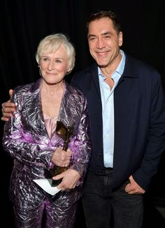 Glenn Close Photos - (L-R) Glenn Close, winner of the Best Female Lead award for 'The Wife,' and Javier Bardem pose during the 2019 Film Independent Spirit Awards on February 2019 in Santa Monica, California. - 2019 Film Independent Spirit Awards - Show Glenn Close, Javier Bardem, Spirit Awards, Photo L, Santa Monica, Good Things, Poses, Actors, Female