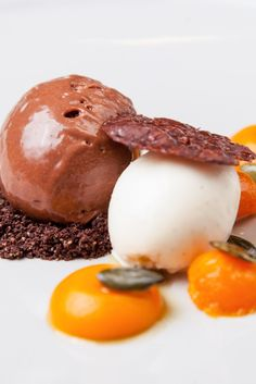 A rich chocolate mousse recipe from chef Nigel Mendham. This chocolate recipe includes a refreshing crème fraîche sorbet and sweet vanilla-infused squash for a vegetable twist.