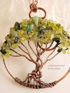 Preferably all peridot! Need cleaning instructions. Wire Wrapped Tree of Life Pendant, Peridot & Emerald Gemstones Handmade Jewelry Copper Wire Tree Jewelry August May Birthstones, Perfectly