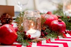 I hosted part of our Christmas progressive dinner this year for our church women's group. I had to provide seating, centerpieces, and table settings. Winter Wedding Centerpieces, Christmas Table Centerpieces, Christmas Tablescapes, Christmas Decorations, Holiday Decorating, Christmas Design, Handmade Christmas, Progressive Dinner, Christmas Mason Jars