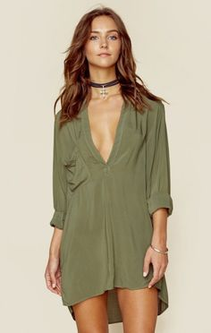 This shirt dress is perfect for throwing on over a bikini when you're at the beach and looks beautiful with a pair of wedges and jewelry for when you're going out at night. We also love it as a tunic,