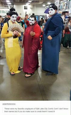 Awesome cosplayers dressed as the three great heroes of mulan's china!