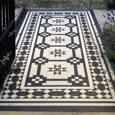 London Mosaic - Classical Georgian Black and White Tile Design - like the pattern but possibly do in grey / lighter colours instead of black Hall Tiles, Tiled Hallway, White Hallway, Bathroom Floor Tiles, Tile Floor, Mosaic Floors, Ceramic Flooring, Terrazzo Flooring, Epoxy Floor