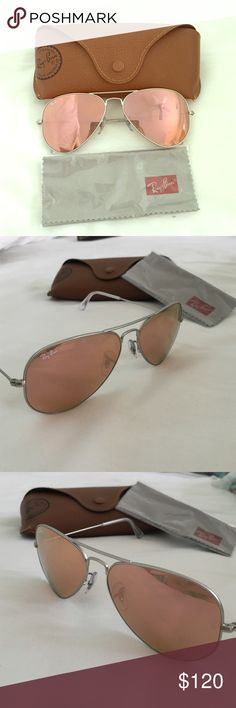 AUTHENTIC Ray Ban Copper Flash Lens Aviators 58mm NWOT, Silver frame, Copper…