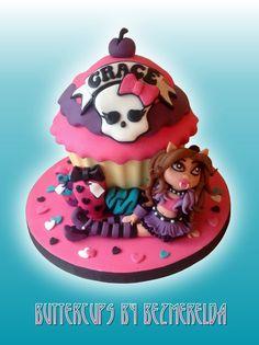 Monster High giant cupcake - by Bezmerelda @ CakesDecor.com - cake decorating website