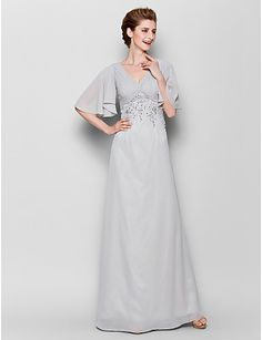 Sheath / Column V-neck Floor Length Chiffon Mother of the Bride Dress with Beading Criss Cross by LAN TING BRIDE®