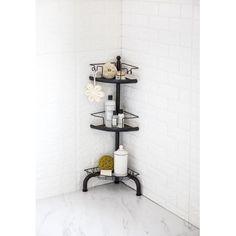 Home Zone HomeZone 3 Tier Corner Shower Caddy with Adjustable Shelves - Oil Rubbed Bronze Corner Shower Caddy, Hanging Shower Caddy, Standing Shower, Shower Shelves, In Shower Storage, Shower Caddies, Shower Rack, Diy Shower, Shower Ideas