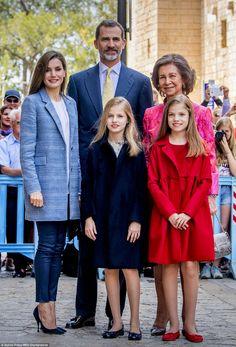Queen Letizia, King Felipe VI of Spain,Crown Princess Leonor The Princess of Asturias, former Queen Sofia and Princess Sofia