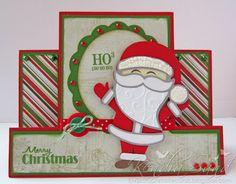 Miss Kate Cuttables - Santa Merry Christmas, Handmade Christmas, Fancy Fold Cards, Folded Cards, Cool Cards, Diy Cards, Center Step Cards, Winter Cards, Xmas Cards