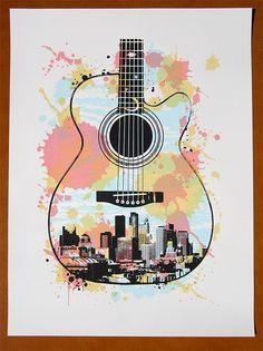 Minneapolis Guitar Screen Print Poster. $25.00, via Etsy.