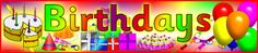 Birthdays display banner (SB2489) - SparkleBox - in Norwegian, English, and other languages