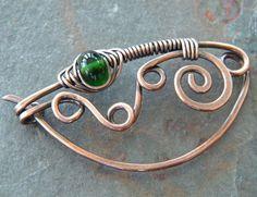 Artisan Emerald Green Copper Fibula Pin Glass Lampwork Shawl Scarf Sweater Brooch.
